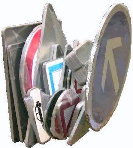 Alfatechnics Farbal in gekrompen folie verpakte verkeersborden