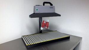 Doorloop bandsealmachine voor zakjes. Type CS500R tot 1kG + statief met rollen