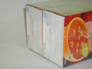 Alfatechnics bundelpakker open krimpverppakking met PE folie. Open krimp als promotiepack.