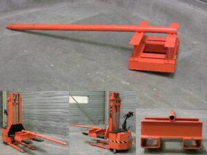 Alfatechnics Farbal laadhulpstuk voor gebruik met een vorklift voor het laden van rollen krimpfolie in de krimpmachine