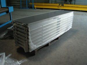 Alfatechnics Farbal stapel platen, gekrompen verpakking, overlappende folie, krimpfolieverpakking.